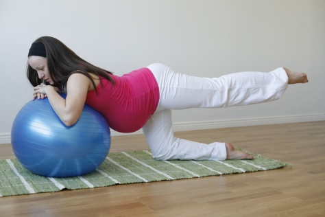 Young pregnant woman doing leg muscle exercise.